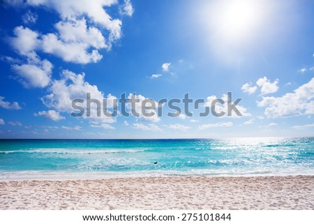 Sunny beach with white sand Cancun, Mexico