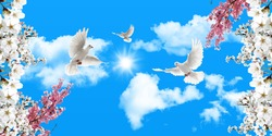 sunny blue sky and clouds. pink white cherry blossoms and flying white doves. stretch ceiling sky model.