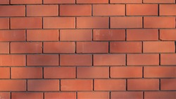 sunny bright orange brick wall with spots of shadows over a ribbed surface, textured empty masonry background with play of sunlight in space, brickwork graphic resource for design backgrounds