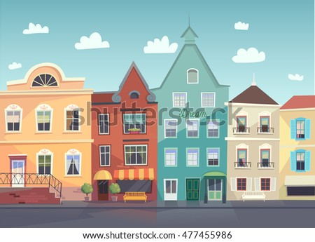 Sunny City street. Doors and windows boutiques, shops, background.  #477455986