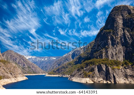 Sunny day at Hetch Hetchy reservoir in Yosemite National Park, California.