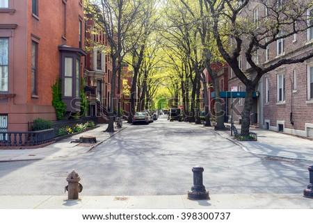 stock photo sunny day at the street in brooklyn new york 398300737 - Каталог — Фотообои «Улицы, переулки»