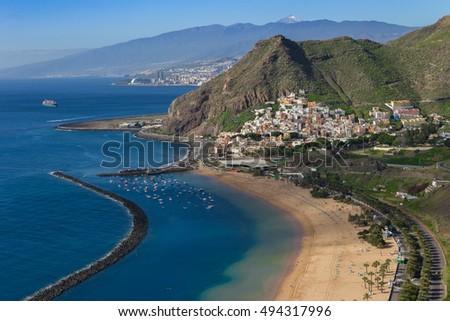 Sunny day in Teresitas beach. Santa Cruz de Tenerife. Canary islands. Spain #494317996