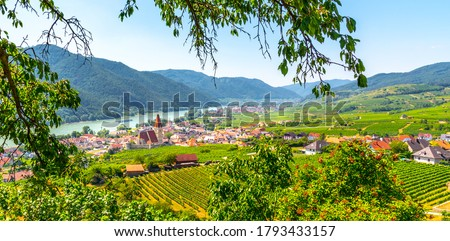 Sunny day in Wachau Valley. Landscape of vineyards and Danube River at Weissenkirchen, Austria. Сток-фото ©