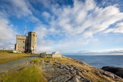 Sunny day overlooking the ocean from Cabot Tower on Signal Hill, Newfoundland and Labrador