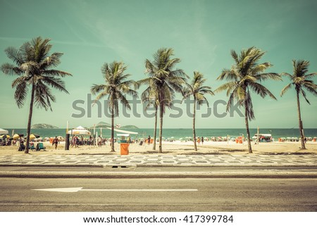 stock photo sunny day with palms on ipanema beach in rio de janeiro brazil vintage colors 417399784 - Каталог — Фотообои «Улицы, переулки»
