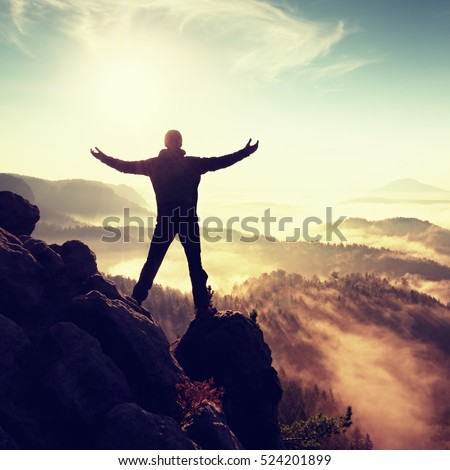 Sunny fall morning. Happy hiker with raised hands in air stand on rock above pine forest. View over misty and foggy morning valley to Sun. #524201899