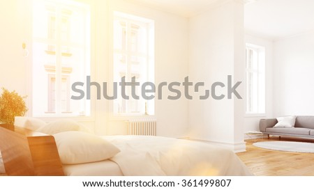 Sunny hotel room suite with bed and sofa (3D Rendering)