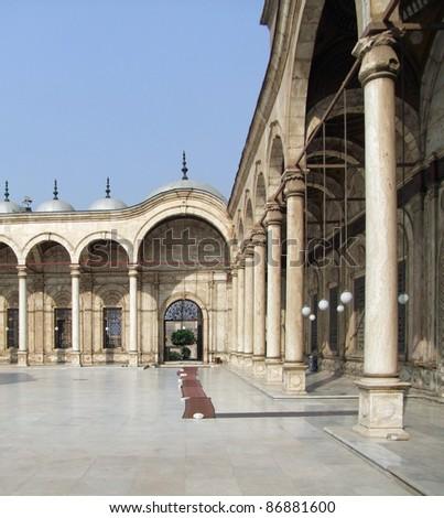 sunny illuminated patio of the Mosque