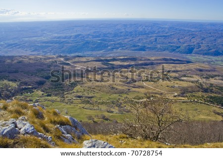 Sunny landscape, View on Istrian Peninsula from Ucka mountain