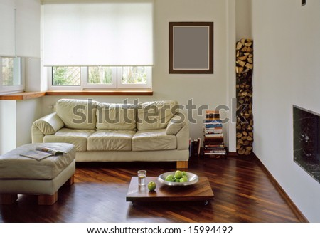 sunny living room with fire place - stock photo