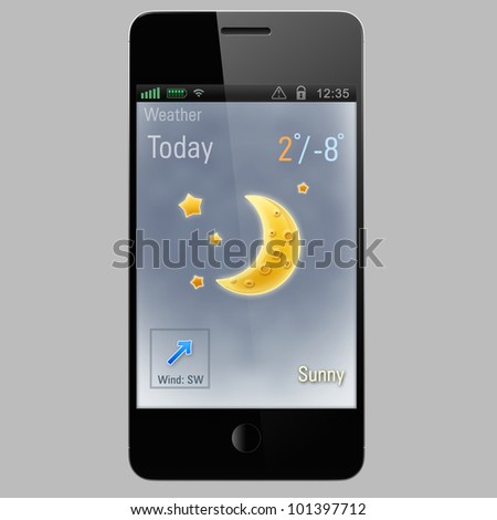sunny moon icon on a screen of smart phone
