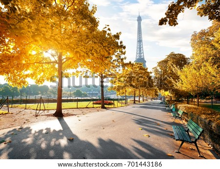 Sunny morning and Eiffel Tower in autumn, Paris, France #701443186