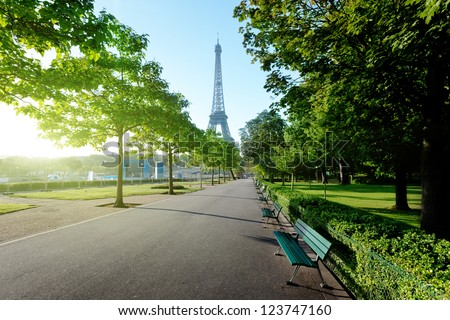 sunny morning and Eiffel Tower Paris France
