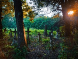 Sunny morning in an old abandoned cemetery. Religious place. Monuments of Christianity. Stone crosses, ruins and graves.