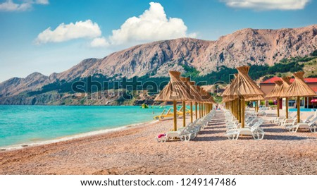 Sunny morning scene of Baska Beach. Amazing summer seascape of Adriatic sea, Baska town location, Krk island, Kvarner bay archipelago, Croatia, Europe. Beautiful world of Mediterranean countries.