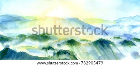 Sunny mountain landscape. Hand drawn outdoor illustration. Watercolor painting. Nature background, watercolor composition. Painted backdrop. Rain forest. Panorama.