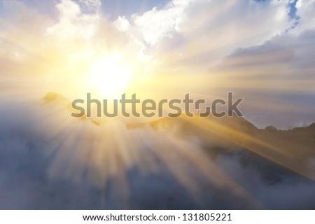 sunny mountain scene - stock photo