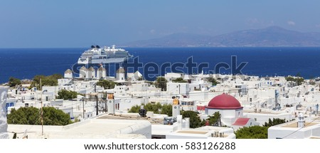Sunny Mykonos with cruise ship from above