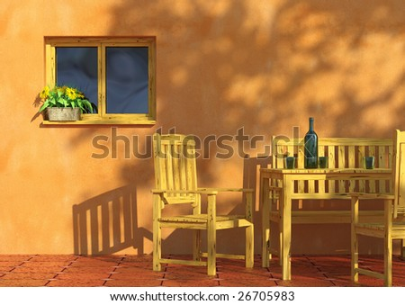 sunny orange terrace with flowers in a window and rustic wooden furniture.
