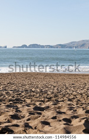 Sunny Saturday on Baker Beach in San Francisco.