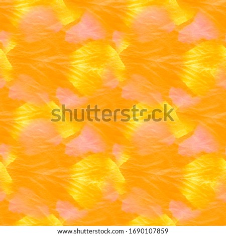 Sunny Seamless Copper Tie Dye Effect. Dirty Art Painting. Yellow Endless Pumpkin Ink Splash Paint. Summer Ornamental Fire Color Ink Chinese Art.