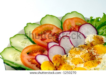 sunny side up fried quail eggs with vegetables dish  isolated on white
