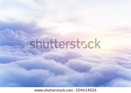 Sunny sky abstract background, beautiful cloudscape, on the heaven, view over white fluffy clouds, freedom concept Stockfoto ©