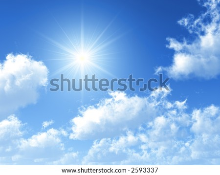 sunny sky background - stock photo
