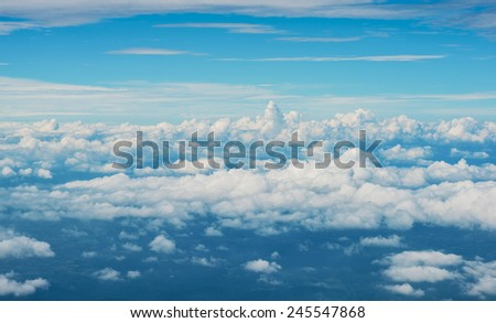 Sunny sky bird eye view abstract background, beautiful dimension of cloudscape