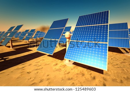 Sunny solar panels in a solar power station under a clear blue sky