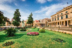 Sunny spring view of Museum of Asian Art. Colorful morning cityscape of Corfu Town, capital of the Greek island of Corfu, Greece, Europe. Traveling concept background.