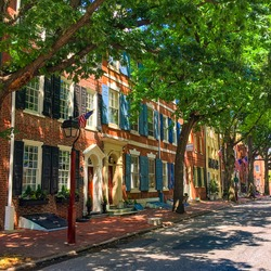 Sunny Street in Philadelphia with Colonial Houses