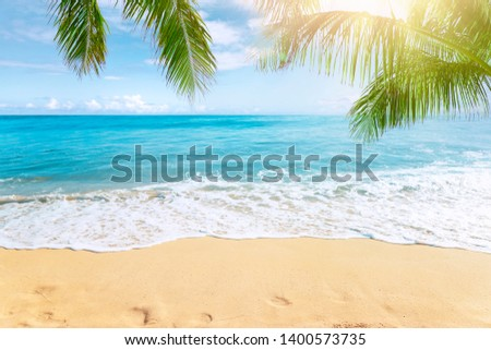 Sunny tropical beach with palm trees #1400573735