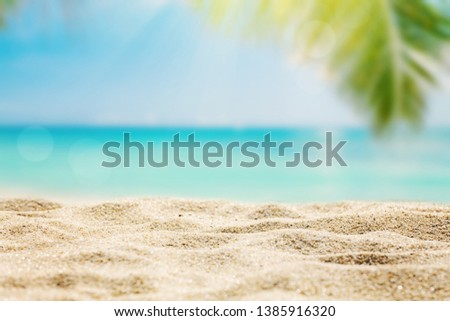 Sunny tropical beach with palm trees background #1385916320