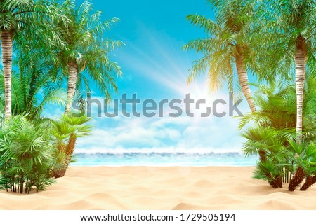 Sunny tropical Caribbean beach with palm trees and turquoise water, caribbean island vacation, hot summer day. 3D render.