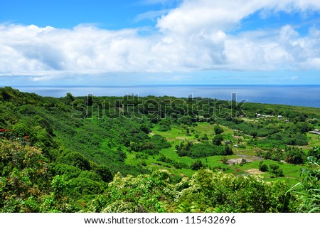 Sunny valley with an ocean scenic view on maui island, hawaii