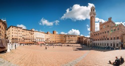 Sunny view of Piazza del Campo in Siena, Toscana region, Italy.