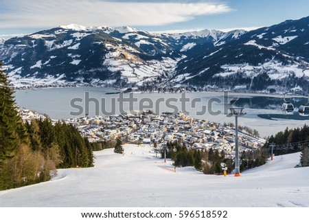 Sunny view of ski slope near Zell am See, Austria.