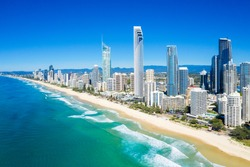 Sunny view of Surfers Paradise on the Gold Coast looking from the North, QLD, Australia