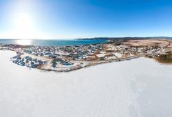 Sunny winter day in a rural coastal community