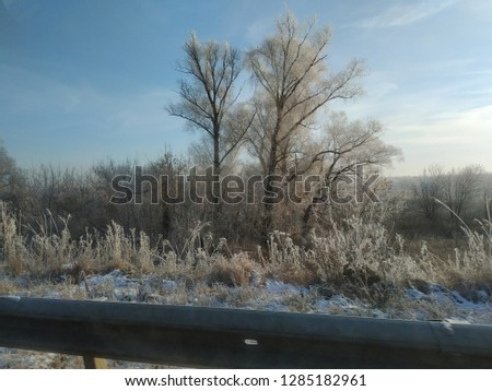 sunny winter landscape #1285182961