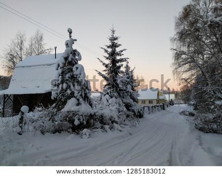 sunny winter landscape #1285183012