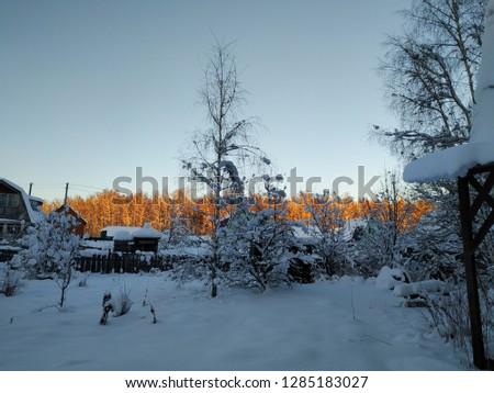 sunny winter landscape #1285183027