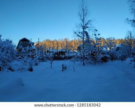 sunny winter landscape #1285183042