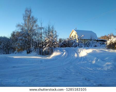 sunny winter landscape #1285183105