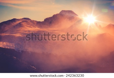 Sunny Winter Mountain Landscape with Blowing Snow. Colorado Rocky Mountains, Colorado, United States.