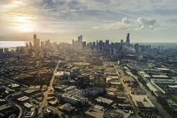 Sunrise above city of Chicago aerial view , vintage colors