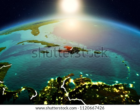 Sunrise above Haiti highlighted in red on model of planet Earth in space with visible country borders. 3D illustration. Elements of this image furnished by NASA. #1120667426