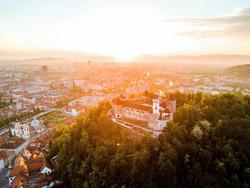 Sunrise above Ljubljana castle in capital city of Slovenia, Ljubljana